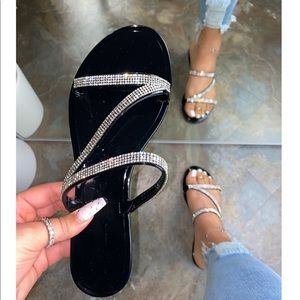 Black Jelly Rhinestone Flat Sandals
